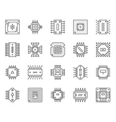 Micro chip cpu simple black line icons set vector