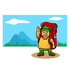 mountaineer in front of mountain panoramic view vector image