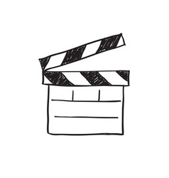 Movie clapper board sketch vector