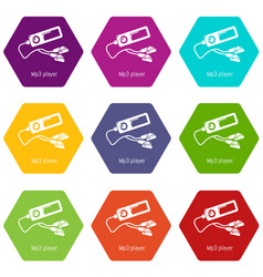 mp3 player icons set 9 vector image