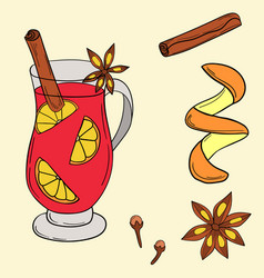 mulled wine in cartoon style vector image