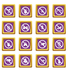 no insect sign icons set purple vector image