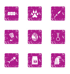 Outlook icons set grunge style vector