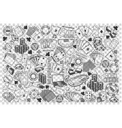 poker doodle set vector image
