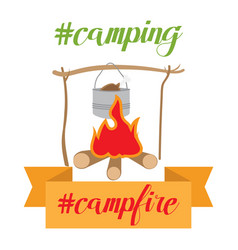 Pot on bonfire camping theme vector