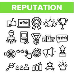reputation linear thin icons symbol set vector image