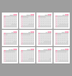 set identical light calendars 2018 months flat vector image