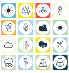 Set of 16 ecology icons includes cactus forest vector