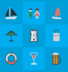 Set simple holiday icons vector