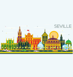 Seville skyline with color buildings and blue sky vector