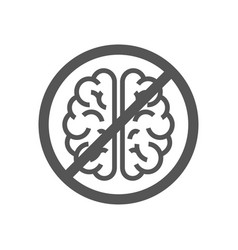 sign with brain concept to deny thinking vector image
