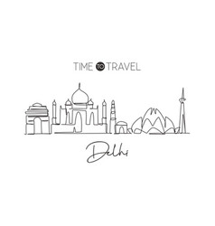 single continuous line drawing delhi skyline vector image