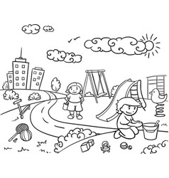 Sketch children active outdoor recreation concept vector