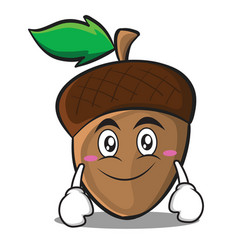 Smile acorn cartoon character style vector