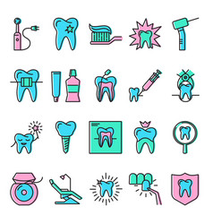 Stomatology icon set in line style with color vector