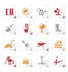 stylized gardening tools and objects icons vector image
