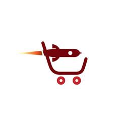 Super fast rocket cart logo vector