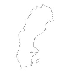 Sweden - solid black outline border map of country vector