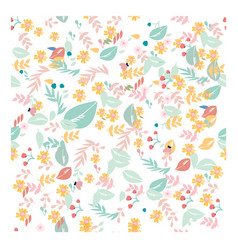 sweet pastel flower and leave seamless pattern vector image