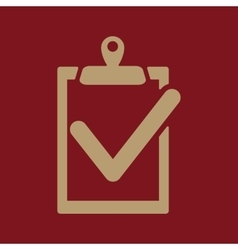 The clipboard icon checklist symbol Flat vector image