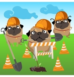 Three dogs builders plant a tree vector image