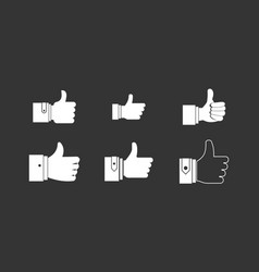 thumb up icon set grey vector image
