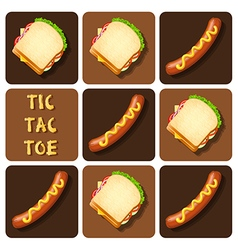 Tic-tac-toe sausage and sandwich vector