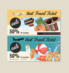 Tourism voucher design with cool weather style vector