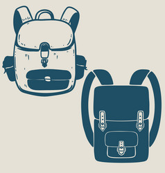 tourist backpack design element for poster card vector image