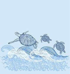 Turtle print turtle print blue white sun sea vector