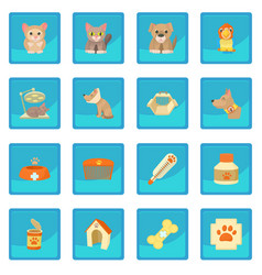 Veterinary clinic items icon blue app vector