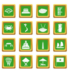 Vietnam travel icons set green vector