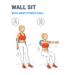 Wall sit with fit mini ball women home workout vector
