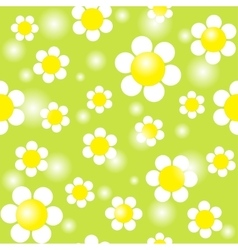 White chamomiles on a green background seamless vector