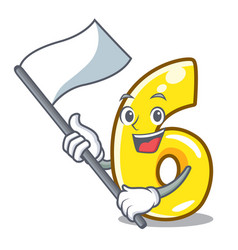 with flag number six isolated on the mascot vector image