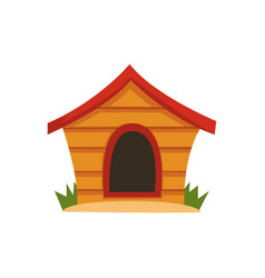 Wooden house for dog on a vector