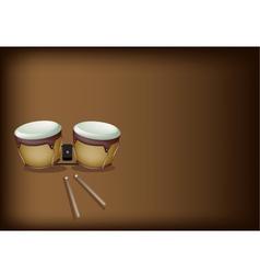 Beautiful Bongo Drum on Dark Brown Background vector image vector image
