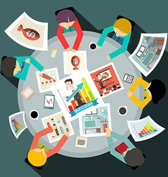 Business People Around Circle Table Top View vector image vector image
