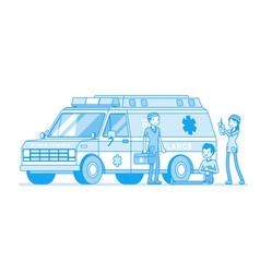 doctors near the ambulance car vector image