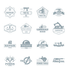 electric tools logo icons set simple style vector image