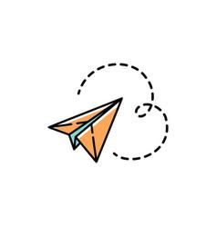 paper plane icon line art colorful design vector image vector image