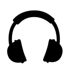 black icon headphones cartoon vector image