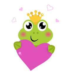 Cute frog holding Pink Heart isolated on white vector image