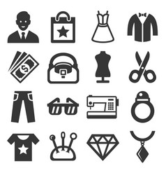 fashion and shopping icons set vector image vector image