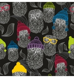 Seamless background with winter owls vector image vector image