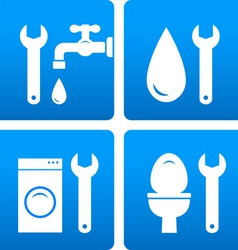 set with wrench water drop washing machine vector image vector image