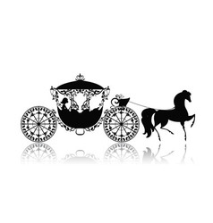 Silhouette Horse Carriage vector image