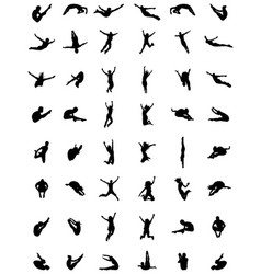 silhouettes of jumping vector image vector image