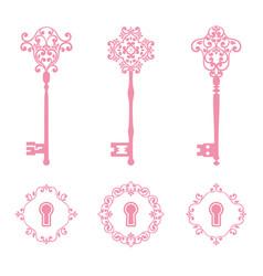 vintage keys and keyholes set in pink color vector image
