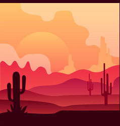 wild mexican desert landscape with cactus plants vector image